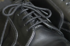 Black leather laced shoes. Black leather proffessional looking pair of laced dress shoes Royalty Free Stock Images