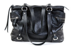 Black leather ladies handbag Stock Photos