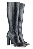 Black leather lady boots Stock Image