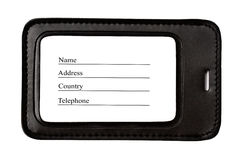 Black leather Luggage tag isolated Royalty Free Stock Images