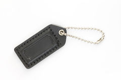 Black Leather Luggage Tag Stock Photo