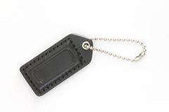 Black Leather Luggage Tag Stock Photo