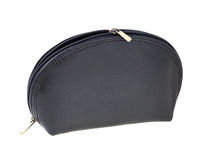 Black leather makeup bag Stock Photo