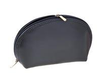 Black leather makeup bag Stock Photo