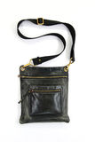 Black leather male bag. On a white background Royalty Free Stock Image