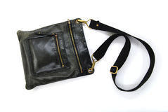Black leather male bag. On a white background Stock Images