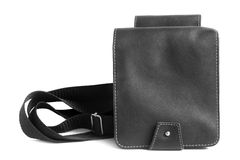 Black leather male bag Stock Photo