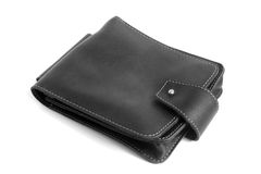 Black leather male bag Stock Photos