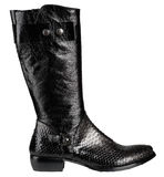 Black leather male boots. Isolated on a white background royalty free stock photos