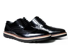 Black male shoes in white background. Black leather male shoes over white Stock Photos