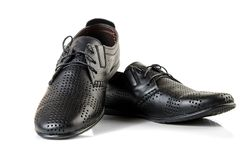 Black leather male shoes Royalty Free Stock Photos