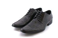 Black leather man boot Stock Photo