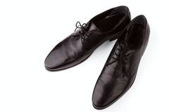 Black LEATHER MAN'S SHOES Stock Image