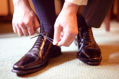 Black leather man's shoes Royalty Free Stock Photo