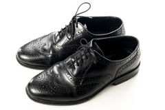 Black leather man shoes on white isolated Royalty Free Stock Photos