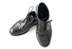 Black leather man shoes on white isolated Stock Images