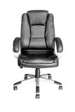 Black leather managers office swivel chair Stock Image
