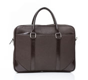 Black leather men casual or business briefcase. Modern gray brown leather men casual or business messenger isolated on white background Stock Photography