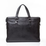 Black leather men casual or business briefcase. Modern black leather men casual or business messenger case isolated on white background Stock Image