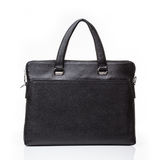 Black leather men casual or business briefcase. Modern black leather men casual or business messenger case isolated on white background Stock Photography