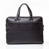 Black leather men casual or business briefcase. Modern black leather men casual or business messenger case isolated on white background Royalty Free Stock Photos