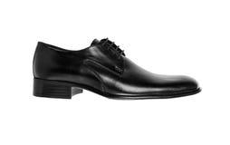 Black leather men's shoe Stock Photos