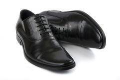 Black leather men's shoes stock images