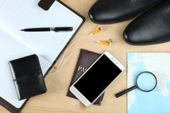 Black leather men`s shoes Stock Photography