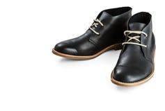 Black leather men's shoes Stock Image