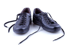 Black leather men's shoes Royalty Free Stock Images