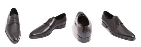Black leather men shoe Stock Photos
