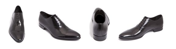 Black leather men shoe Stock Images