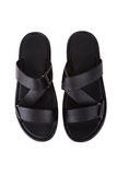 Black leather mens sandals shoes Royalty Free Stock Photography