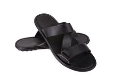 Black leather mens sandals shoes Royalty Free Stock Image