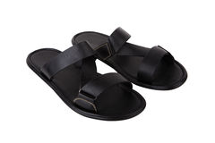 Black leather mens sandals shoes Stock Photo