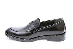 Black leather mens shoe Stock Photos