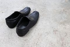 Black leather mens shoes. Cut shoes Royalty Free Stock Images