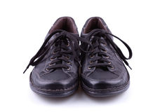 Black leather mens shoes. Black leather men's shoes on white background Royalty Free Stock Images