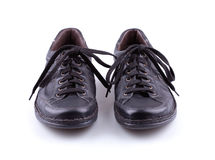 Black leather mens shoes Stock Photography