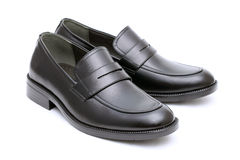 Black leather mens shoes Royalty Free Stock Photo