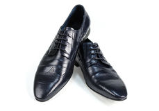 Black leather mens shoes side view Stock Images