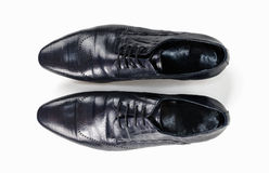 Black leather mens shoes top view Royalty Free Stock Photos