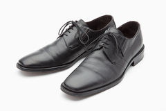 Black leather mens shoes. On white background Stock Images