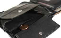 Black leather moneybag Stock Images