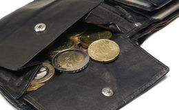Black leather moneybag Stock Photos