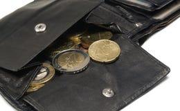 Black leather moneybag Stock Photos
