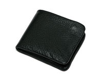 Black leather new wallet Stock Images