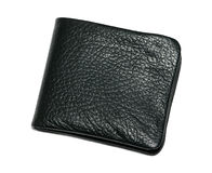 Black leather new wallet Stock Image