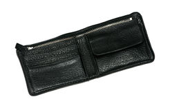 Black leather new wallet Stock Photos