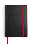 Black leather note book diary with red stripe Royalty Free Stock Photos